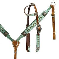 12986 Headstall and breast collar set with aqua overlay accented with glitter stars