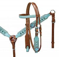 13017 Pony size Turquoise leather overlay headstall and breast collar set with turquoise cyrstal rhinestones.