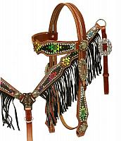13038 Navajo diamond design headstall and breast collar set with fringe