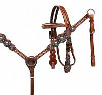 13057 Pony Blue rhinestone headstall and breast collar set