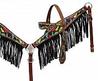 13063 Feather print headstall and breast collar set