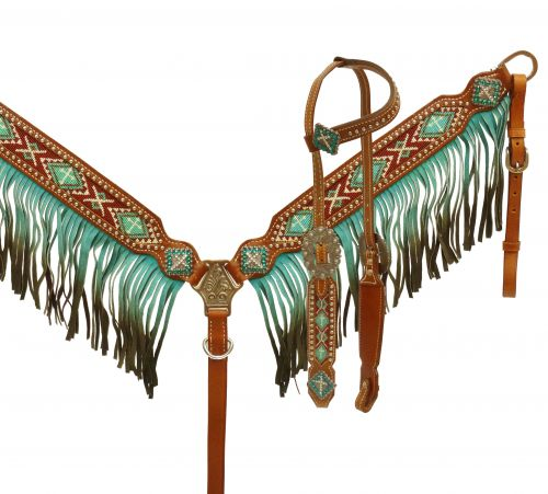 13076 Teal Ombre Beaded fringe headstall and breast collar set