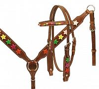 13110 Pony size headstall and breast collar set with multi colored star beads