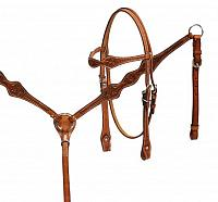 13111 Argentina cow leather headstall and breast collar set