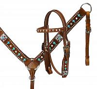 13149 Pony  Turquoise cross headstall and breast collar set