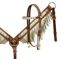 13153 Pony size metallic alligator print fringe headstall and breast collar.
