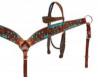 13157 hand painted headstall and breast collar set