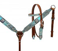 13159 Pony size Metallic turquoise paisley headstall and breast collar set.