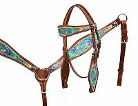 13190 Pony size Psychedelic swirl headstall and breast collar set.