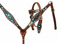 13251 Pony Size Paint splatter headstall and breast collar set