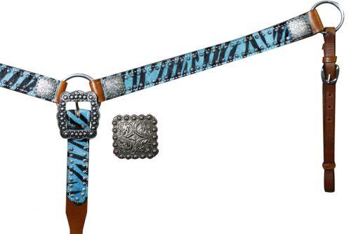 13442 Belt Style Hair On Zebra Print Breast Collar- pink or teal