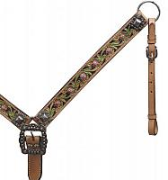 13462 Belt Style Painted Floral Tooled Leather Breast Collar