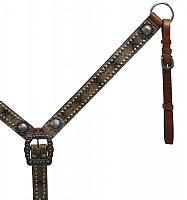 13467 Belt Style Leather Snake Print Breast Collar