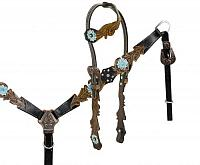 13052 One ear headstall with cut out filigree tooling accented teal painted tooled flower