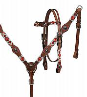 13722 red and white beaded tack set