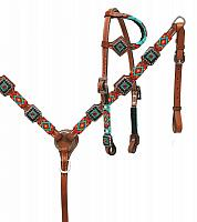 13724 beaded with diamond concho tack set