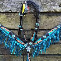 12912 Black leather headstall and breast collar set with metalic blue fringe and inlays