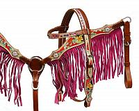 8043 Pony/Small Horse size pink fringe headstall and breast collar set.