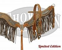 15012 LIMITED EDITION  Hand painted headstall and breast collar set with fringe