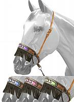 16043 Black and medium leather noseband with beaded inlay and suede fringe