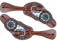 1636 Pastel Navajo diamond spur straps
