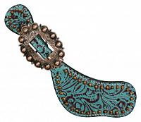 175499 Ladies Size Leather Spur Straps with Filigree Print