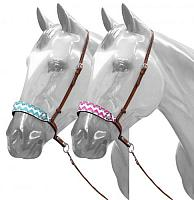175801 Adjustable Chevron print noseband with tie down strap