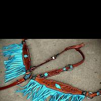 12976 Argentina cow leather turquoise fringe headstall and breast collar set