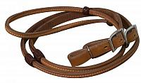19068 8ft Argentina cow leather reins with burgundy braided rawhide accents and Conway buckles.