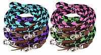 19092 8ft braided nylon barrel reins with scissor snap ends