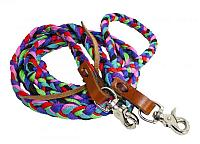 """19115 97"""" multi colored braided nylon contest rein with scissor snap ends"""