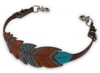 19206 Cut-out, hand painted feather wither strap
