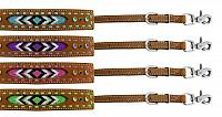 19208 Medium leather wither strap with beaded inlay