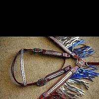 13041 Patriotic metallic fringe headstall and breast collar set