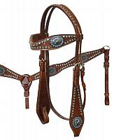 2001  Headstall and Breast Collar Set with Turqoise Rhinestones and Turquoise Stone Vintage Conchos