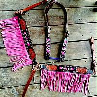 12916 Pink Black and medium leather headstall and breast collar set with beaded inlay and suede fringe.