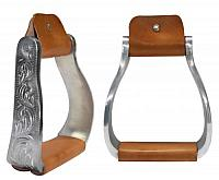 "22573 Aluminum engraved off set stirrups. 3"" neck, 4.75"" wide and 2.25"" tread"