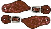 """2280 Ladies/ Youth size Argentina cow leather spur straps with pink metallic painted floral tooling. Adjusts 7.5"""" to 9.5""""."""