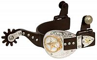 257654 ladies size antique brown silver buckle tip and keeper spurs with gold star and lasso accent.