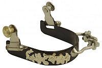 258786 Ladies black steel bumper rowel spur with silver overlays