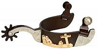 258918LY women's size antique brown silver show spur with gold praying cowboy with horse design