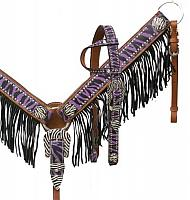 12977 Purple zebra fringe headstall and breast collar set with crystal rhinestone zebra print hardware