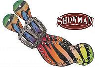 30670 Ladies size rainbow zebra print spur straps