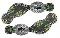 30729 Ladies size spur straps with Navajo diamond design