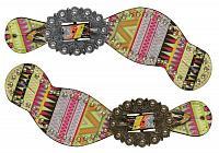 30730 Ladies size spur straps with multi color aztec design