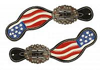 30731 Hand painted American flag spur straps.