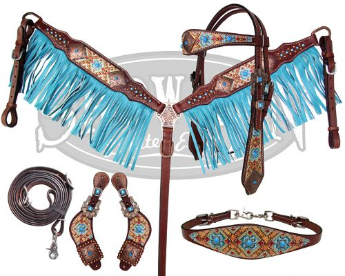 10374E LIMITED EDITION  5 Piece ornate print design set with turquoise fringe.
