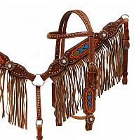 4015 Medium leather headstall and breast collar set with multi colored beaded design and fringe