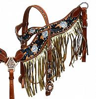 4016 Gold shimmer fringe headstall and breast collar set.
