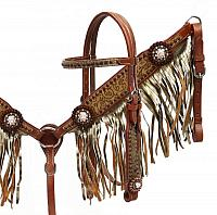 4017 Gold shimmer fringe headstall and breast collar set.